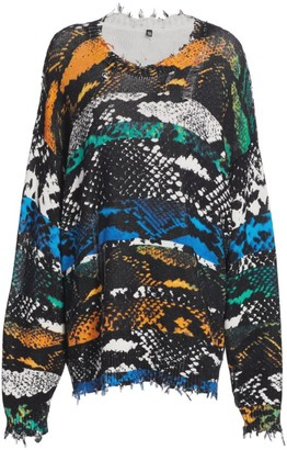 R 13 Snake Print Oversized Sweater