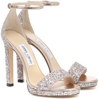 Jimmy Choo Misty 120 glitter sandals