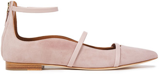 Malone Souliers Robyn Leather-trimmed Suede Point-toe Flats