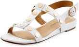Neiman Marcus Bela Studded Strappy Flat Sandal, White