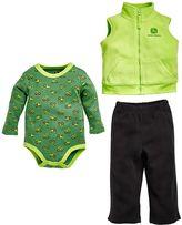 John Deere Baby Boy Tractor Bodysuit, Vest & Pants Set