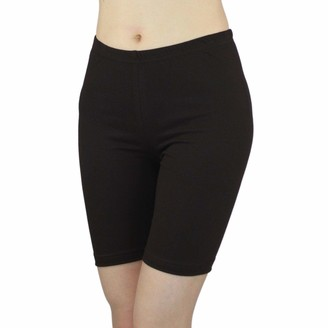 Elegance1234 Womens Ladies Cycling Shorts Lycra Stretchy Cotton Above Knee Active Sport Everyday Short Leggings. - Black - XXL