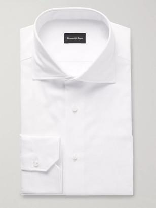 Ermenegildo Zegna White Slim-Fit Cutaway-Collar Cotton-Pique Shirt