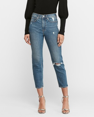 Express Super High Waisted Original Ripped Mom Jeans