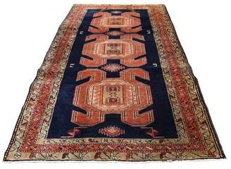 """Bungalow Rose One-of-a-Kind Nivens North West Persian with Large and Bold Elements Hand-Knotted Runner 4'7"""" x 10' Wool Blue Area Rug"""