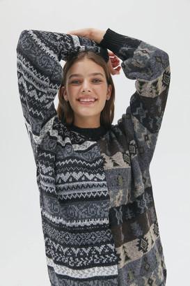 Urban Renewal Vintage Recycled Spliced Asymmetric Print Sweater
