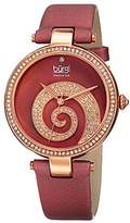 Burgi Women's BUR143BUR Round Burgundy Mother of Pearl and Rose Gold Dial with Swarovski Crystals Quartz Movement Satin Strap Watch