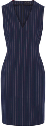 Rag & Bone Leki Grosgrain-trimmed Pinstriped Stretch-cotton Dress