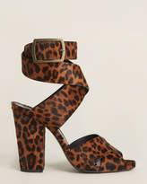 Saint Laurent Sand Oak Leopard Ankle Strap Sandals