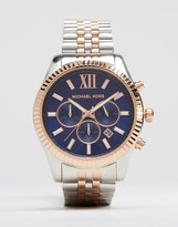 Michael Kors Lexington Chronograph Mixed Metal Watch In Stainless Steel Mk8412