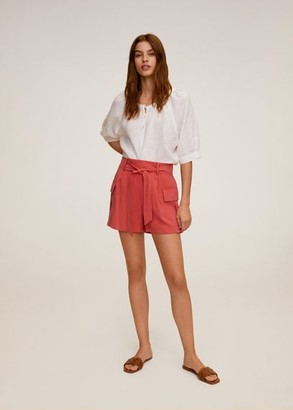 MANGO Side pockets shorts coral red - XS - Women