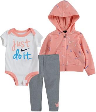 Nike Baby Girl Bodysuit, Zip Hoodie & Leggings Set