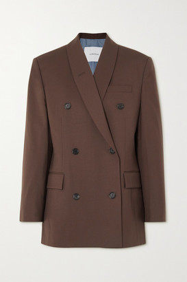pushBUTTON Double-breasted Wool-blend Twill Blazer - Brown