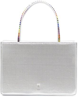 Amina Muaddi Metallic Tote Bag With Rainbow Crystal Top Handles