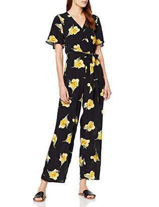Warehouse Women's Katy Floral Jumpsuit, Black Print 76, 6 (Size:6)