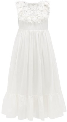 RED Valentino Ruffled Guipure Lace-trimmed Cotton-voile Dress - Womens - White