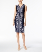 JM Collection Petite Printed Chain-Neck Sheath Dress, Created for Macy's