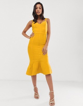 Asos DESIGN Tape detail bandage asymmetric hem midi dress
