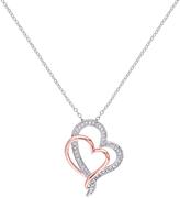 Diamond & Two-Tone Two-Heart Pendant Necklace