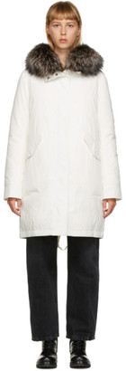 Yves Salomon Army White Down and Fur Jacket