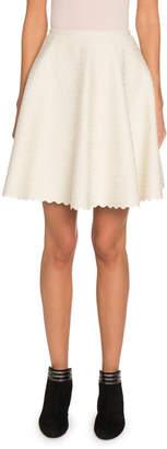 Alaia Embossed Velvet Flare Mini Skirt