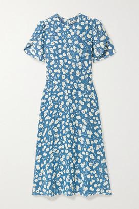 Reformation Andre Floral-print Crepe Midi Dress - Light blue