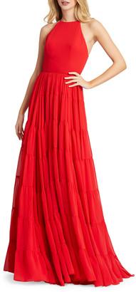 Mac Duggal Paneled Ruffle A-Line Halter Gown