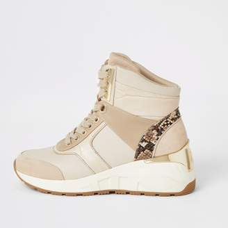 River Island Womens Beige high top lace-up wedge trainers