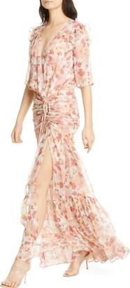 Veronica Beard Mick Floral Metallic Silk Maxi Dress