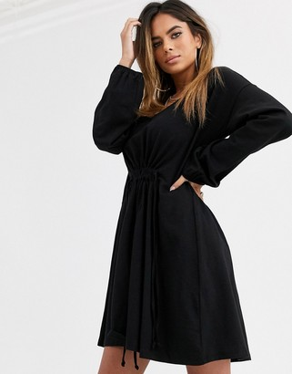 ASOS DESIGN smock dress with drawstring waist in black