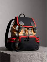 Burberry The Large Rucksack In Vintage Check And Leather, Yellow
