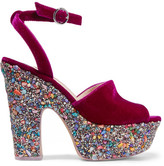 Sophia Webster Havisham Embellished Velvet Platform Sandals - Burgundy