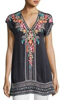Johnny Was Letty Short-Sleeve Embroidered Silk Georgette Top