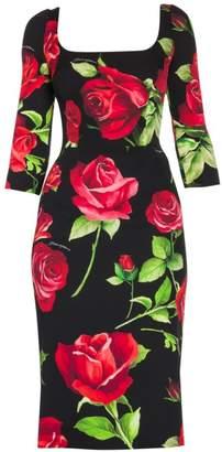 Dolce & Gabbana Rose-Print Stretch Silk Midi Dress