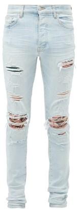 Amiri Distressed Printed-patch Skinny-leg Jeans - Blue