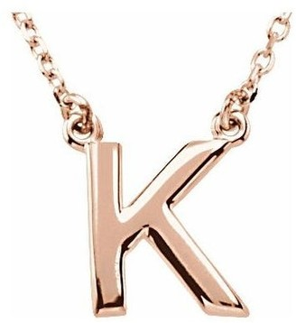 Diamond2deal 14K Rose Gold Block Initial K Necklace 16 Inch