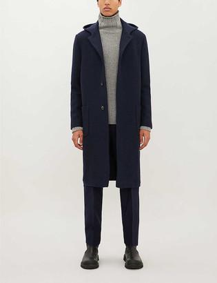 Corneliani Herringbone wool hooded coat