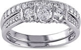 JCPenney MODERN BRIDE 3/4 CT. T.W. Diamond 10K White Gold 3-Stone Bridal Ring Set