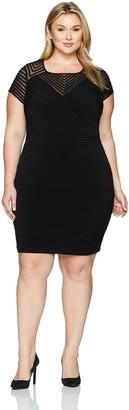 Calvin Klein Women's Plus Size Cap Sleeve Illusion Dress