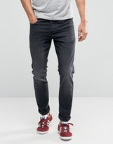 Selected Skinny Fit Stretch Jeans In Washed Black Denim
