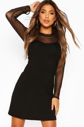boohoo Mesh Top 2 in 1 Slip Dress