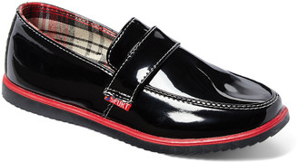 AXNY Boys' Loafers Black - Black & Red Faux Patent Leather Loafer - Boys