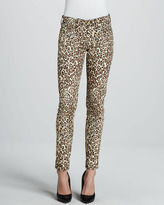 7 For All Mankind Cheetah-Print Slim Cigarette Pants