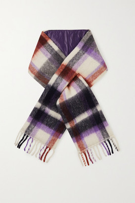 HOLZWEILER + Net Sustain Fringed Padded Checked Alpaca-blend Scarf - Purple