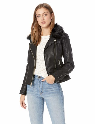 GUESS Women's Leather Moto Jacket with Removable Faux Fur Trim