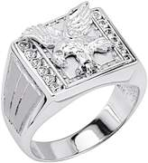 GoldenMine .925 Sterling Silver Rhodium Plated Soaring Eagle Men's Ring - Size 8
