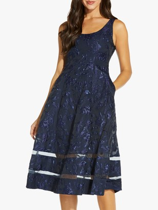 Adrianna Papell Jacquard Floral Midi Dress, Midnight