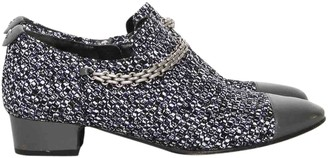 Chanel Grey Tweed Flats