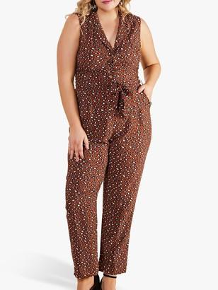Yumi Curves Animal Print Sleeveless Jumpsuit, Brown