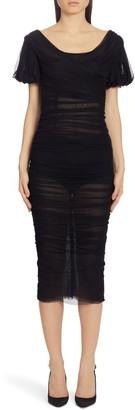 Dolce & Gabbana Puff Sleeve Ruched Silk Tulle Midi Dress